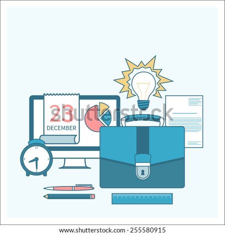 Business concept in flat design for time to work, work process, project and time management with idea, timing and business symbols. Raster version - stock photo