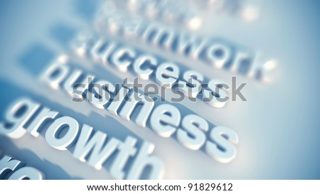 business concept keywords, growth success teamwork in rendered type