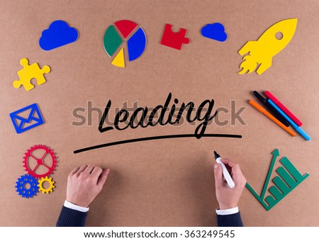 Business Concept-Leading word with colorful icons