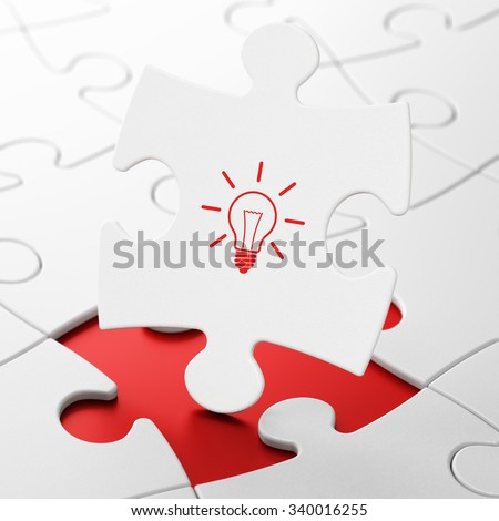 Business concept: Light Bulb on White puzzle pieces background, 3d render - stock photo
