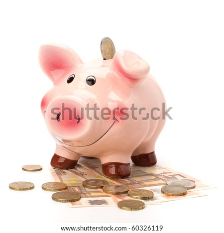 Business concept. Lucky piggy bank isolated on white background. - stock photo