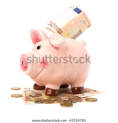 Business concept. Lucky piggy bank isolated on white background.