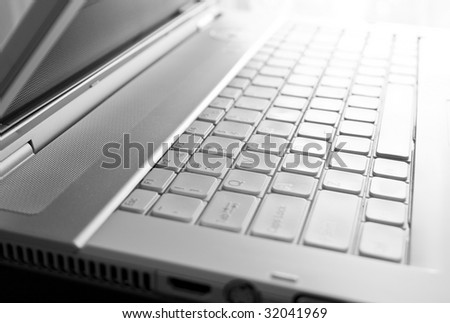 Business concept -  macro shot of laptop keyboard