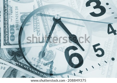 Business concept, magnifying glass on dollars background and clock - stock photo