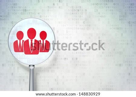 Business concept: magnifying optical glass with Business People icon on digital background, empty copyspace for card, text, advertising, 3d render - stock photo