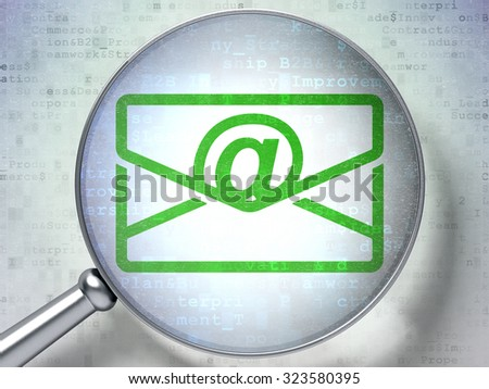 Business concept: magnifying optical glass with Email icon on digital background - stock photo
