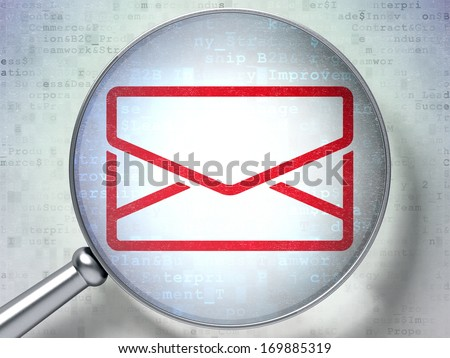 Business concept: magnifying optical glass with Email icon on digital background, 3d render - stock photo