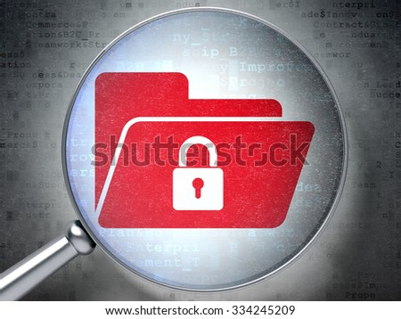 Business concept: magnifying optical glass with Folder With Lock icon on digital background - stock photo