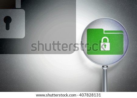 Business concept: magnifying optical glass with Folder With Lock icon on digital background, empty copyspace for card, text, advertising, 3D rendering - stock photo
