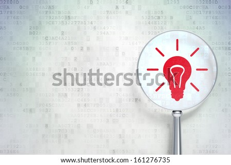 Business concept: magnifying optical glass with Light Bulb icon on digital background, empty copyspace for card, text, advertising, 3d render - stock photo