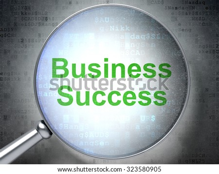Business concept: magnifying optical glass with words Business Success on digital background - stock photo