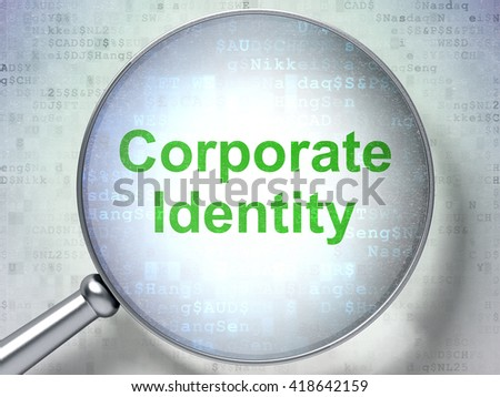 Business concept: magnifying optical glass with words Corporate Identity on digital background, 3D rendering - stock photo