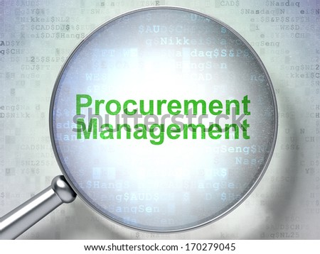 Business concept: magnifying optical glass with words Procurement Management on digital background, 3d render - stock photo