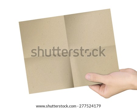 business concept: man's hands holding brown paper over white background