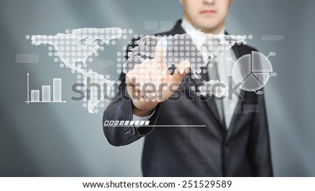 Business concept. Man touch in screen with icons and graphic - stock photo