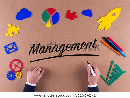 Business Concept-MANAGEMENT word with colorful icons - stock photo