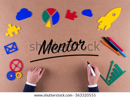 Business Concept- Mentor word with colorful icons - stock photo