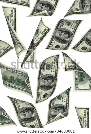 business concept. money fall isolated on white background - stock photo