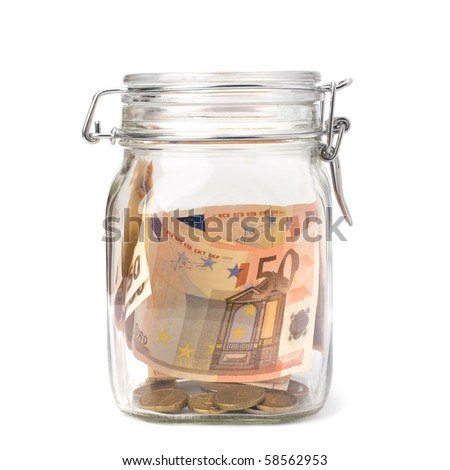 Business concept. Money savings in glass pot. - stock photo