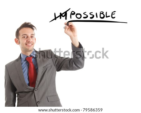 Business concept: motivation. Word impossible transformed into possible. - stock photo
