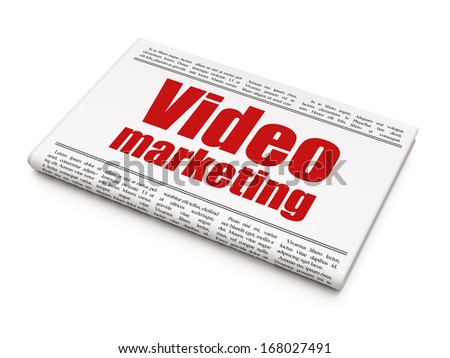 Business concept: newspaper headline Video Marketing on White background, 3d render - stock photo