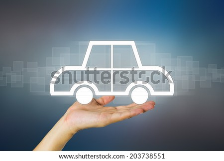 Business concept of auto on dark background.