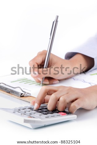 business concept of hand analyzing income earnings - stock photo