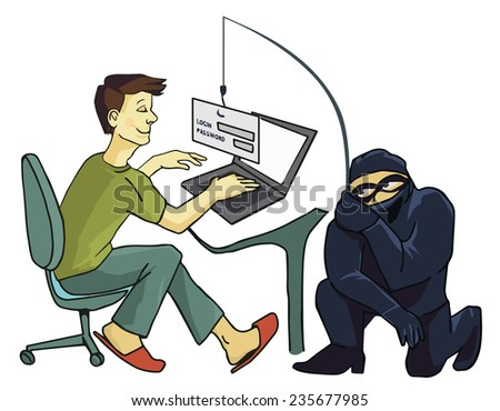 Business concept of internet scam with phising, steal your password - stock photo