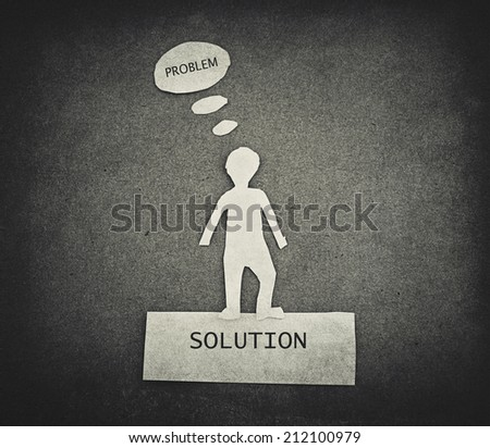 business concept of problem and solution - stock photo