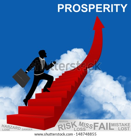 Business Concept of Step for Success Present By The Businessman Step Up to Top of Prosperity Arrow in Blue Sky Background - stock photo