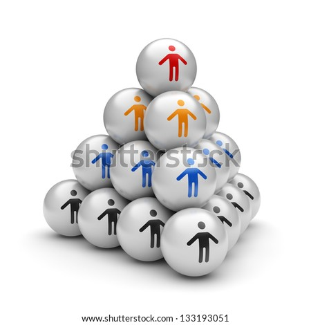 Business concept of the hierarchy structure pyramid and the leader of the team on its top. 3d illustration - stock photo