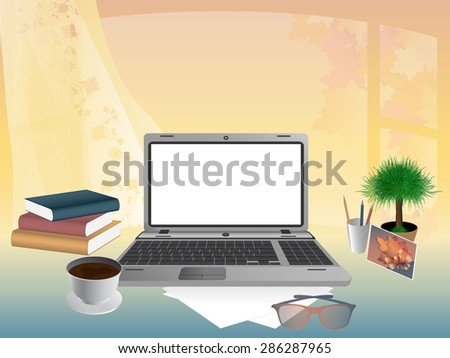 Business concept. Office interior, workplace organization. Rasterized version - stock photo