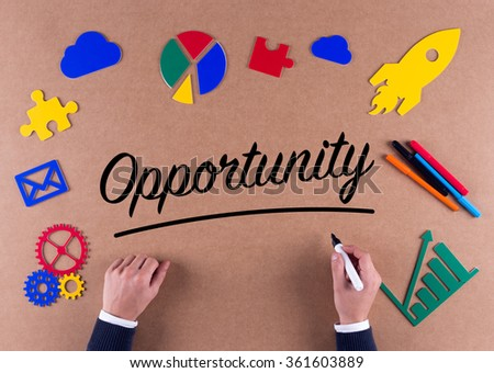 Business Concept-Opportunity word with colorful icons - stock photo
