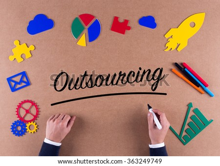 Business Concept-Outsourcing word with colorful icons