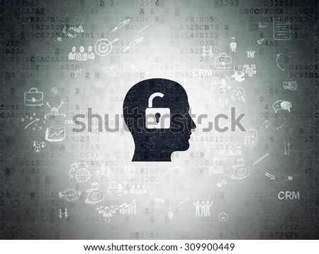 Business concept: Painted black Head With Padlock icon on Digital Paper background with Scheme Of Hand Drawn Business Icons