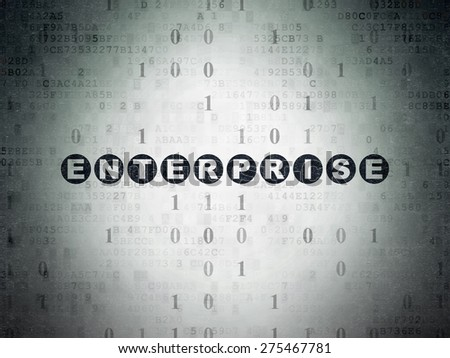 Business concept: Painted black text Enterprise on Digital Paper background with Binary Code, 3d render - stock photo