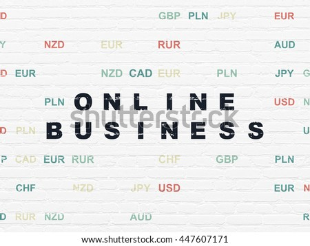 Business concept: Painted black text Online Business on White Brick wall background with Currency