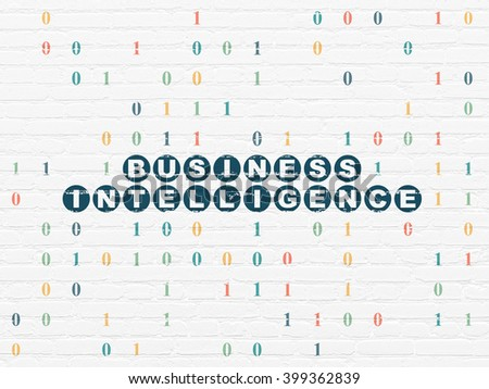 Business concept: Painted blue text Business Intelligence on White Brick wall background with Binary Code - stock photo