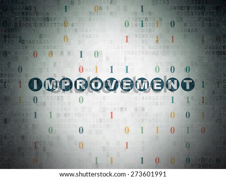Business concept: Painted blue text Improvement on Digital Paper background with Binary Code, 3d render - stock photo