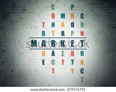 Business concept: Painted blue word Market in solving Crossword Puzzle on Digital Paper background, 3d render - stock photo