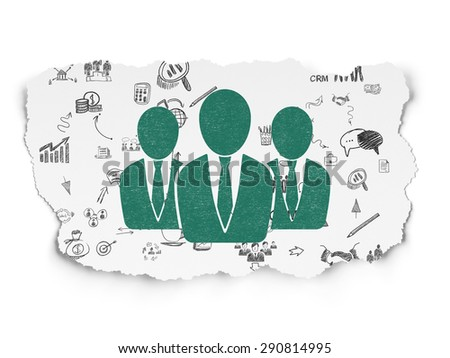 Business concept: Painted green Business People icon on Torn Paper background with Scheme Of Hand Drawn Business Icons, 3d render - stock photo