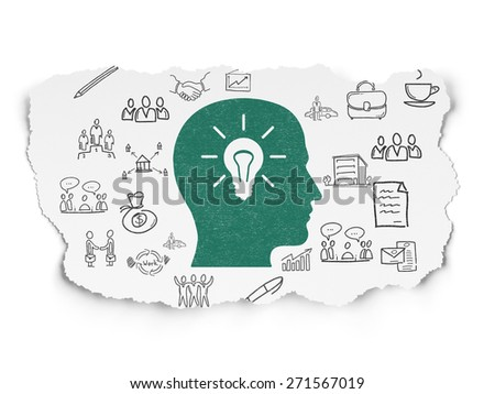 Business concept: Painted green Head With Light Bulb icon on Torn Paper background with  Hand Drawn Business Icons, 3d render - stock photo