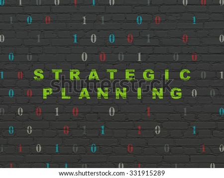 Business concept: Painted green text Strategic Planning on Black Brick wall background with Binary Code