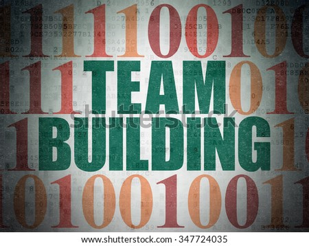 Business concept: Painted green text Team Building on Digital Paper background with Binary Code - stock photo