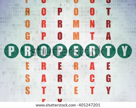 Business concept: Painted green word Property in solving Crossword Puzzle on Digital Paper background - stock photo