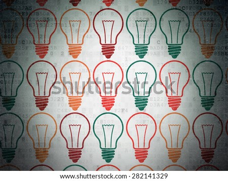 Business concept: Painted multicolor Light Bulb icons on Digital Paper background, 3d render - stock photo