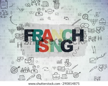 Business concept: Painted multicolor text Franchising on Digital Paper background with Scheme Of Hand Drawn Business Icons, 3d render - stock photo