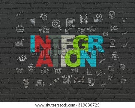 Business concept: Painted multicolor text Integration on Black Brick wall background with  Hand Drawn Business Icons - stock photo