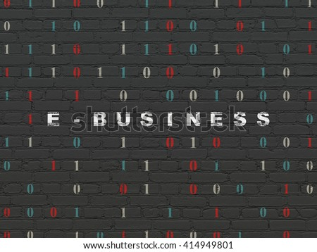 Business concept: Painted white text E-business on Black Brick wall background with Binary Code - stock photo