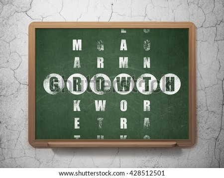 Business concept: Painted White word Growth in solving Crossword Puzzle on School board background, 3D Rendering - stock photo